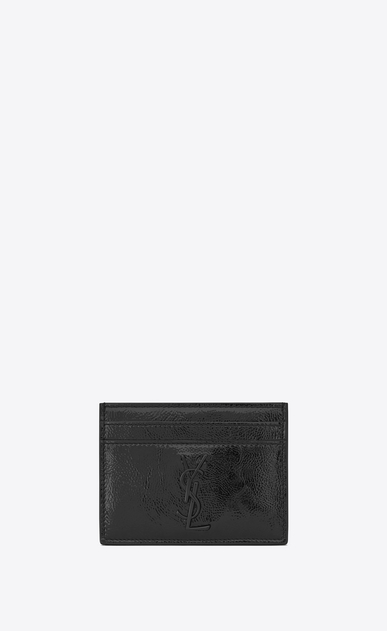 SAINT LAURENT Monogram SLG U monogram Credit Card Case in Black Patent Leather a_V4