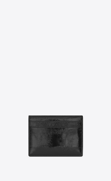 SAINT LAURENT Monogram SLG U monogram Credit Card Case in Black Patent Leather b_V4