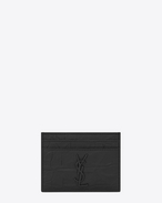 SAINT LAURENT Monogram SLG U monogram Credit Card Case in Black Crocodile Embossed Leather f