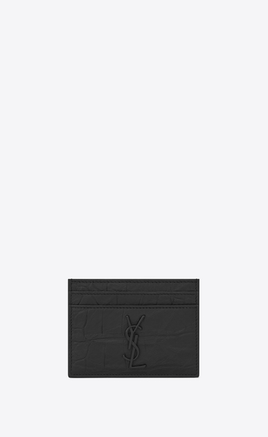 SAINT LAURENT Monogram SLG Man monogram Credit Card Case in Black Crocodile Embossed Leather a_V4