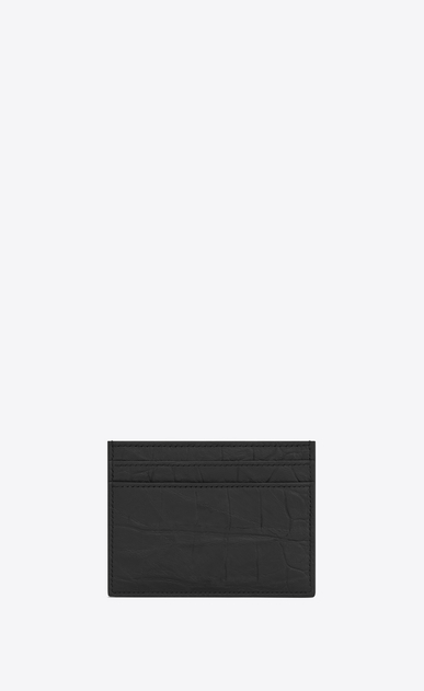 SAINT LAURENT Monogram SLG U monogram Credit Card Case in Black Crocodile Embossed Leather b_V4