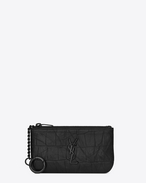 SAINT LAURENT Monogram SLG U monogram Key Pouch in Black Crocodile Embossed Leather f