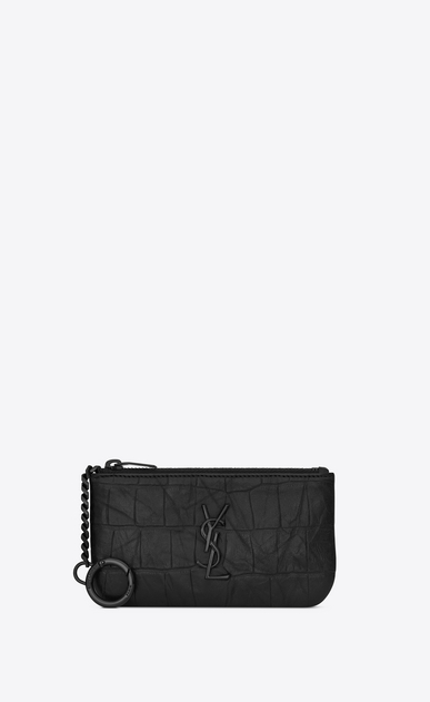 SAINT LAURENT Monogram SLG Man monogram Key Pouch in Black Crocodile Embossed Leather a_V4