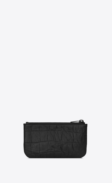 SAINT LAURENT Monogram SLG Man key pouch in black crocodile embossed leather b_V4