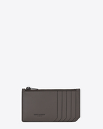 SAINT LAURENT Fragments Lederwaren U FRAGMENTS Zip Pouch in Earth Grey Leather and Black Trim f