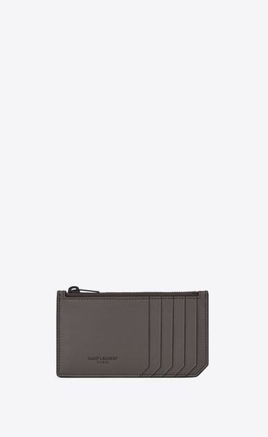SAINT LAURENT Fragments Small Leather Goods U FRAGMENTS Zip Pouch in Earth Grey Leather and Black Trim a_V4