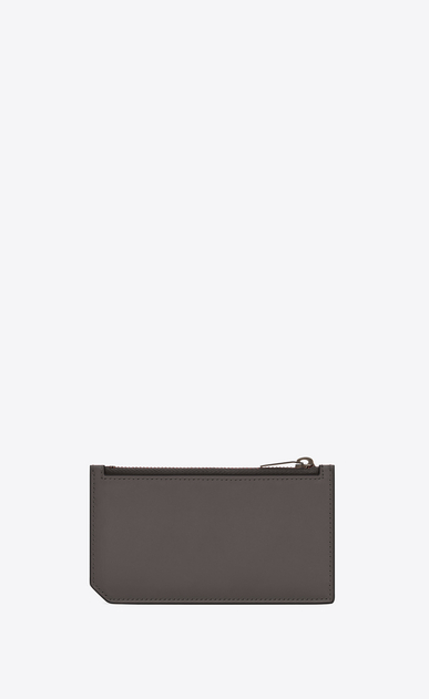 SAINT LAURENT Fragments Small Leather Goods U FRAGMENTS Zip Pouch in Earth Grey Leather and Black Trim b_V4