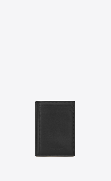 SAINT LAURENT Fragments Small Leather Goods U FRAGMENTS Key Case in Black Leather and Shiny Trim a_V4