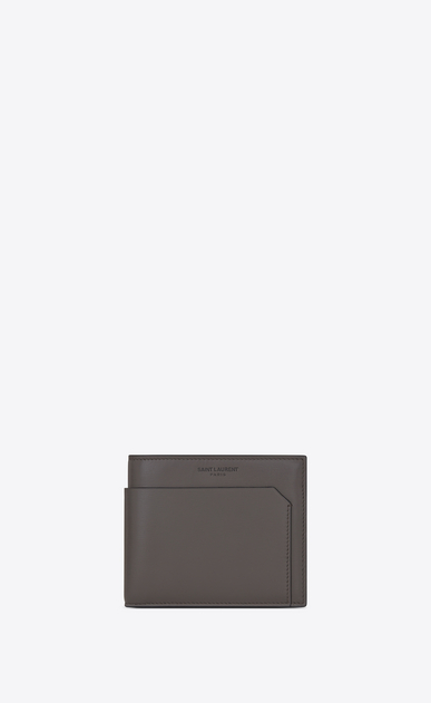 SAINT LAURENT Fragments Small Leather Goods U FRAGMENTS EAST/WEST Wallet in Earth Grey Leather and Black Matte Trim a_V4
