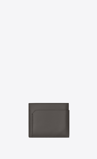 SAINT LAURENT Fragments Small Leather Goods U FRAGMENTS EAST/WEST Wallet in Earth Grey Leather and Black Matte Trim b_V4