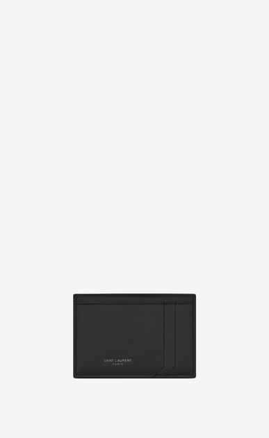 SAINT LAURENT Fragments Small Leather Goods U FRAGMENTS Business Card Case in Black Leather and Shiny Trim a_V4