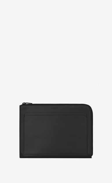 SAINT LAURENT Fragments Small Leather Goods U FRAGMENTS Zipped Tablet Holder in Black Leather and Shiny Trim a_V4