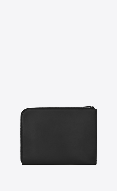 SAINT LAURENT Fragments Small Leather Goods U FRAGMENTS Zipped Tablet Holder in Black Leather and Shiny Trim b_V4