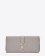 SAINT LAURENT YSL line D Large YSL zipped wallet in mouse-gray leather f