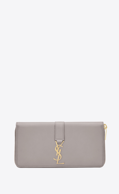 SAINT LAURENT YSL line D Large YSL zipped wallet in mouse-gray leather a_V4