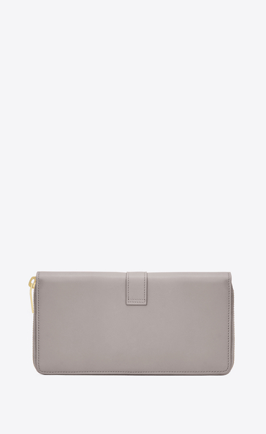 SAINT LAURENT YSL line D Large YSL zipped wallet in mouse-gray leather b_V4