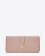 SAINT LAURENT YSL line D Large YSL zipped wallet in powder pink leather f