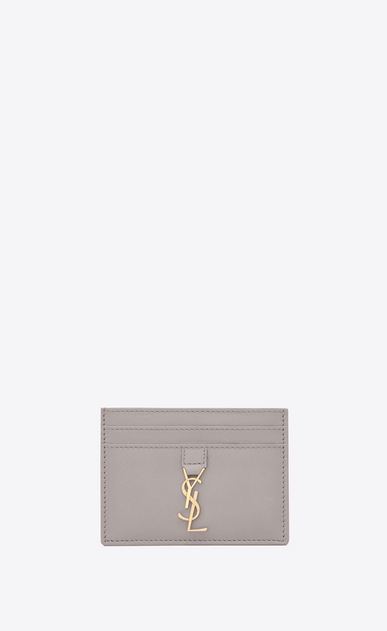 SAINT LAURENT YSL line D YSL card case in mouse-gray leather a_V4