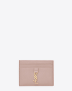 SAINT LAURENT YSL line D YSL card case in powder pink leather f