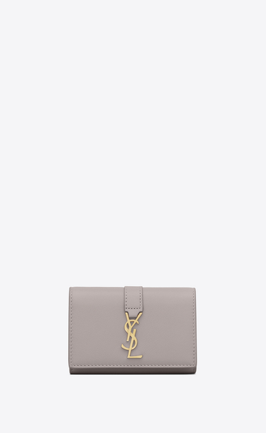 SAINT LAURENT YSL line Woman ysl key ring in mouse-gray leather a_V4