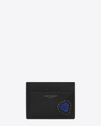 SAINT LAURENT Saint Laurent Paris SLG D SAINT LAURENT PARIS card case with a heart patch in black leather f