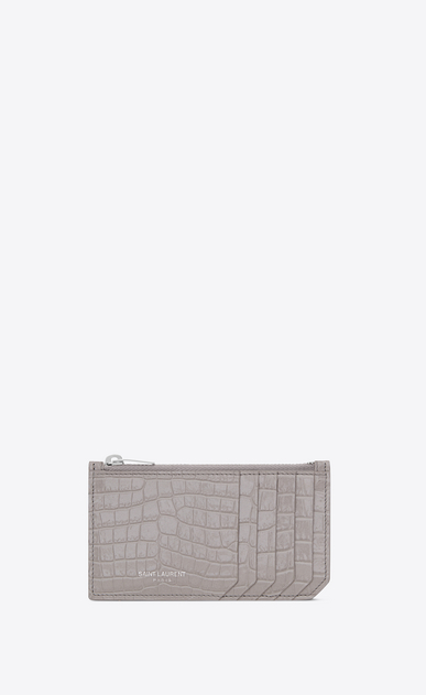 SAINT LAURENT Saint Laurent Paris SLG D SAINT LAURENT PARIS 5 FRAGMENTS zip pouch in mouse-gray crocodile embossed shiny leather a_V4