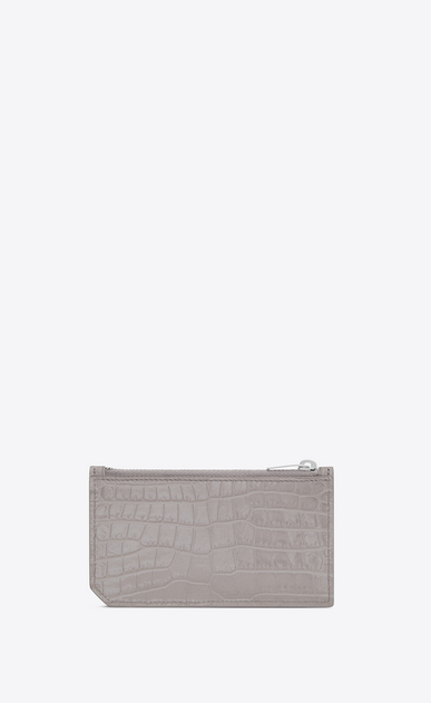 SAINT LAURENT Saint Laurent Paris SLG D SAINT LAURENT PARIS 5 FRAGMENTS zip pouch in mouse-gray crocodile embossed shiny leather b_V4