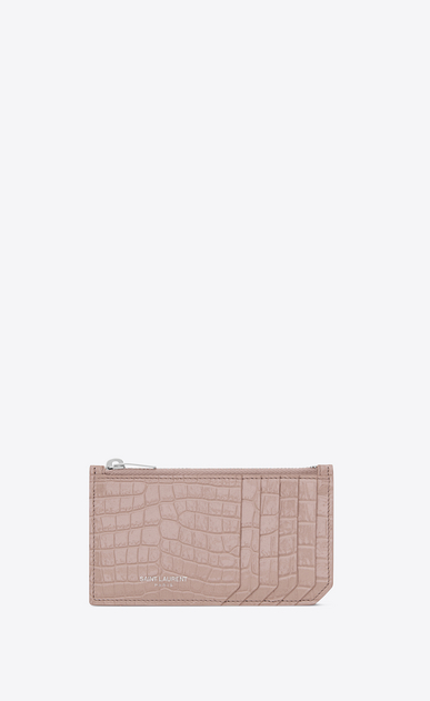 SAINT LAURENT Saint Laurent Paris SLG D SAINT LAURENT PARIS 5 FRAGMENTS zip pouch in powder pink crocodile embossed shiny leather a_V4