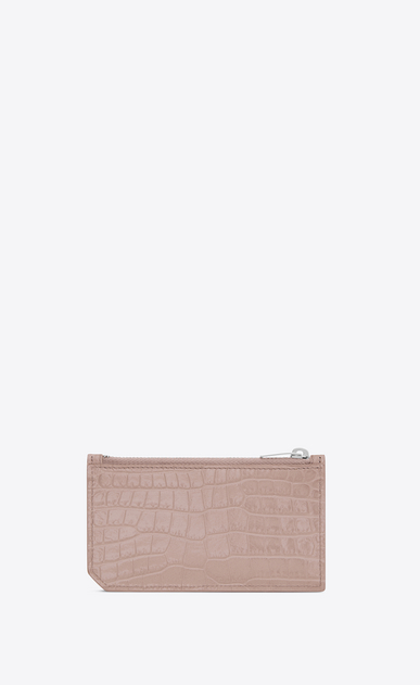 SAINT LAURENT Saint Laurent Paris SLG Woman SAINT LAURENT PARIS 5 FRAGMENTS zip pouch in powder pink crocodile embossed shiny leather b_V4