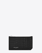 SAINT LAURENT Saint Laurent Paris SLG D SAINT LAURENT PARIS 5 FRAGMENTS zip pouch in black crocodile embossed shiny leather f
