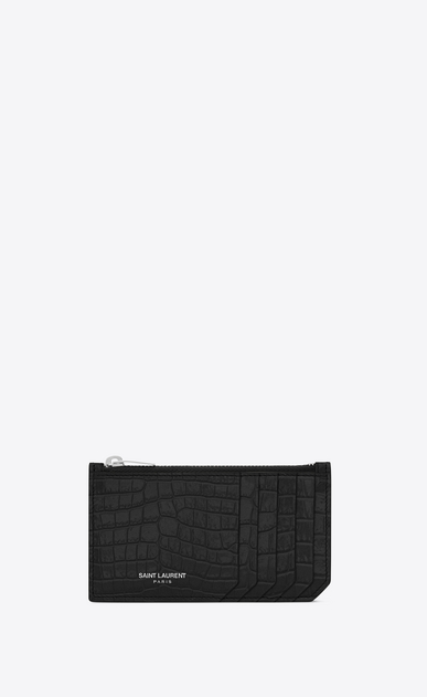 SAINT LAURENT Saint Laurent Paris SLG Woman fragments zip pouch in black crocodile embossed shiny leather a_V4