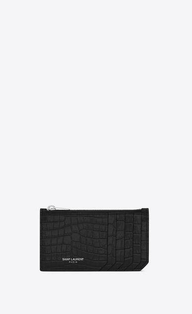 SAINT LAURENT Saint Laurent Paris SLG D SAINT LAURENT PARIS 5 FRAGMENTS zip pouch in black crocodile embossed shiny leather v4