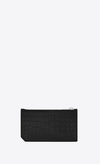 SAINT LAURENT Saint Laurent Paris SLG Woman fragments zip pouch in black crocodile embossed shiny leather b_V4