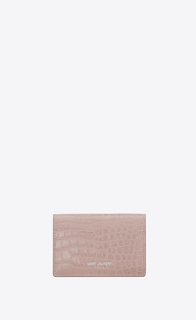 saint laurent paris small wallet in powder pink crocodile embossed shiny leather