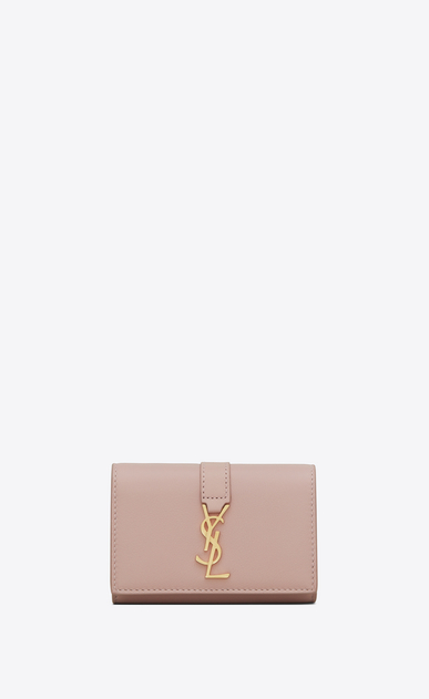SAINT LAURENT YSL line Woman ysl key ring in powder pink leather a_V4