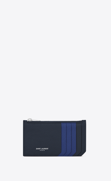 SAINT LAURENT Saint Laurent Paris SLG Woman SAINT LAURENT PARIS 5 FRAGMENTS zip pouch in dark blue and royal blue grained leather a_V4