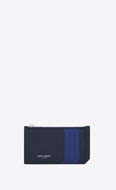 SAINT LAURENT Saint Laurent Paris SLG D SAINT LAURENT PARIS 5 FRAGMENTS zip pouch in dark blue and royal blue grained leather v4