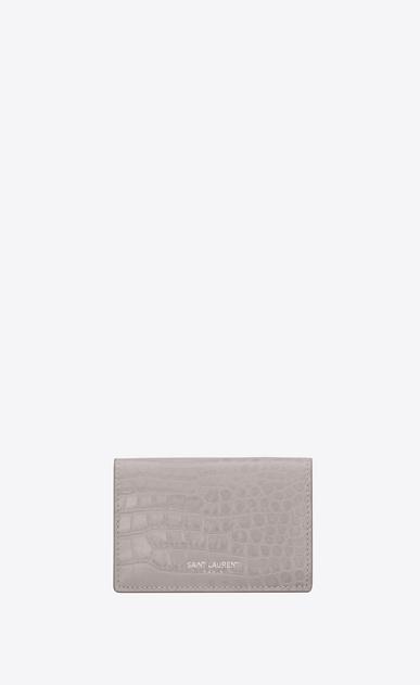 SAINT LAURENT Saint Laurent Paris SLG Damen petite saint laurent paris portemonnaie aus mausgrauem glanzleder mit krokodilledergravur a_V4