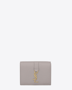 SAINT LAURENT YSL line D Small YSL wallet in mouse-gray leather f
