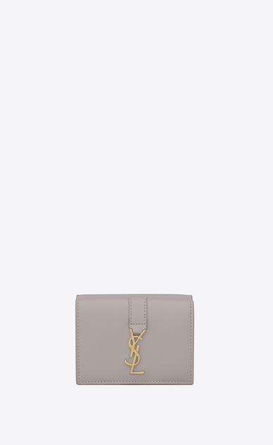 SAINT LAURENT YSL line D Small YSL wallet in mouse-gray leather a_V4