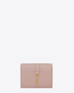 SAINT LAURENT YSL line D Small YSL wallet in powder pink leather f