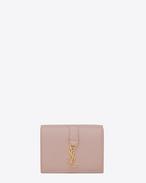 SAINT LAURENT YSL line D Portafogli Small YSL rosa cipria in pelle f