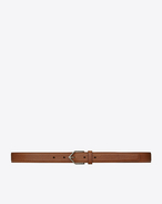 SAINT LAURENT Cinture Small D TRIANGLE buckle belt in camel-colored leather f