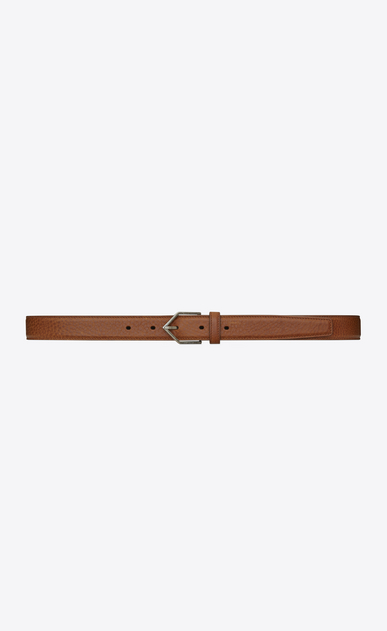 SAINT LAURENT Skinny Belts Woman TRIANGLE buckle belt in camel-colored leather a_V4