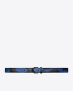 SAINT LAURENT Skinny Belts D TRIANGLE buckle belt in black and blue python f