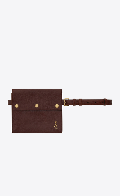 SAINT LAURENT Belt Bags D NOÉ Saint Laurent belt with pouch in shiny cognac leather a_V4