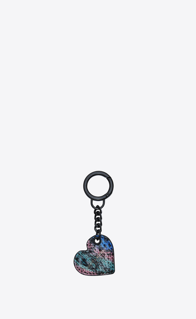 SAINT LAURENT Key Ring Woman Heart-shaped key pouch in ocean black and fuchsia Ayers b_V4