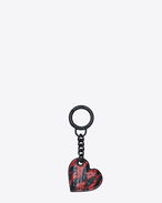 SAINT LAURENT Key Ring D Heart-shaped key pouch in black and red Ayers f