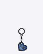 SAINT LAURENT Key Ring D Heart-shaped key pouch in black and blue Ayers f