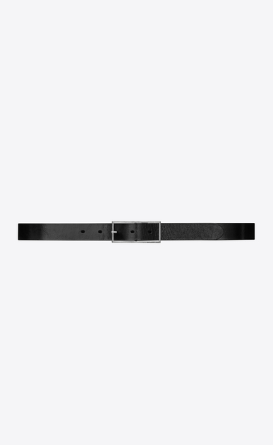 SAINT LAURENT Skinny Belts Woman FÉTICHE belt with buckle in cracked shiny black moroder leather a_V4